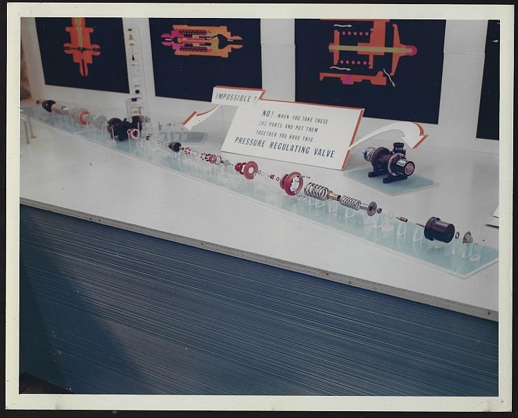 ORIGINAL COLOR PHOTOGRAPH OF DISPLAY OF 203 PARTS OF A PRESSURE REGULATING VALVE, MARSHALL SPACE FLIGHT CENTER, HUNTSVILLE, ALABAMA, Photograph