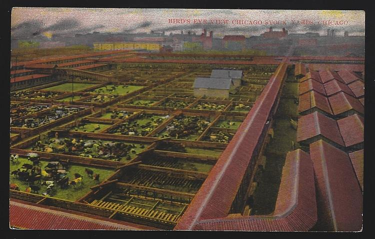 BIRD'S EYE VIEW CHICAGO STOCK YARDS, CHICAGO, ILLINOIS, Postcard