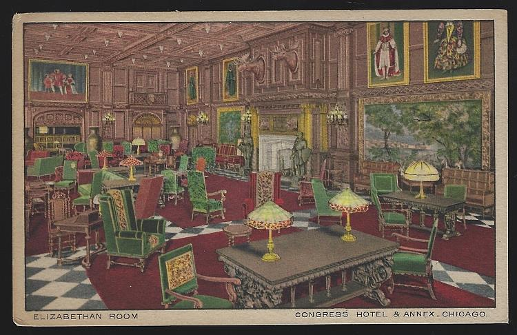 ELIZABETHAN ROOM, CONGRESS HOTEL AND ANNEX, CHICAGO, ILLINOIS, Postcard