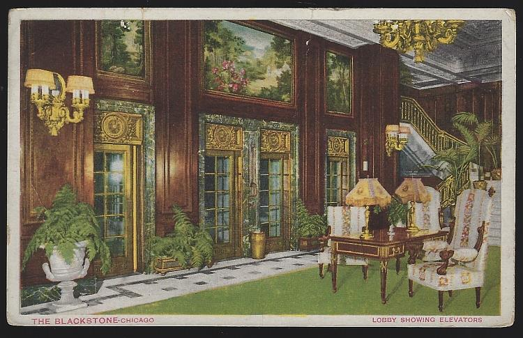 LOBBY SHOWING ELEVATORS, THE BLACKSTONE, CHICAGO, ILLINOIS, Postcard