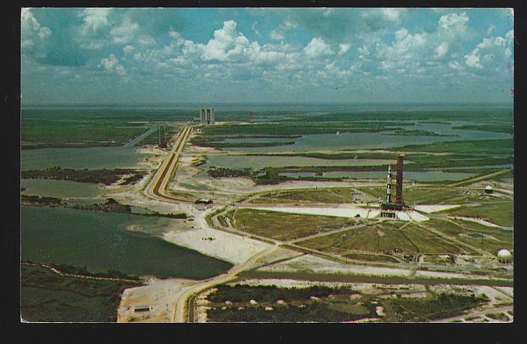 AERIAL VIEW OF PAD 39A WITH APOLLO/SATURN V ON PAD, KENNEDY SPACE CENTER, FLORIDA, Postcard