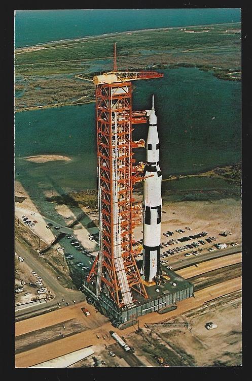 AERIAL VIEW, NASA APOLLO SATURN-V F. KENNEDY SPACE CENTER, FLORIDA, Postcard