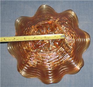 NORTHWOOD MARIGOLD CARNIVAL GLASS ROSE SHOW RUFFLED BOWL