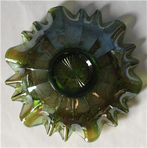 Millersburg Blackberry Wreath Green Carnival Glass Large Bowl