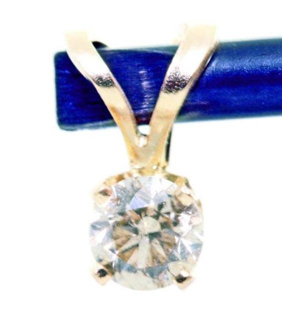 Genuine-Natural-Champagne-Diamond-Solid-14K-White-amp-Yellow-Gold-Pendant-3-Sizes