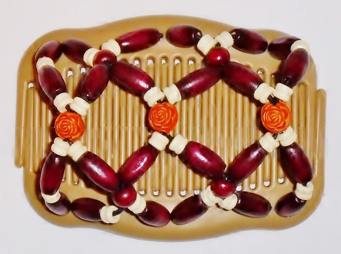 Double-Magic-Hair-Combs-Angel-Wings-Clips-4x3-5-034-African-Butterfly-Rosebuds-S5