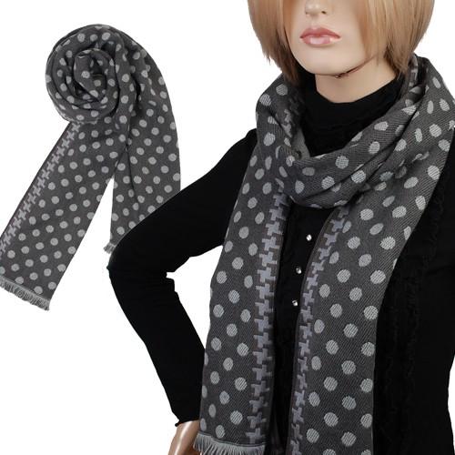 hj2042 neu stricken grau punkte polka dots damen lange schal winterschal dick. Black Bedroom Furniture Sets. Home Design Ideas