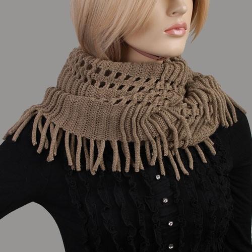 kh2044 braun lang stricken damenschal winterschal schal damen scarf halst cher ebay. Black Bedroom Furniture Sets. Home Design Ideas