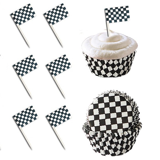 50 Racing Checkered Flag Cupcake Picks Amp 50 Baking Cupcake
