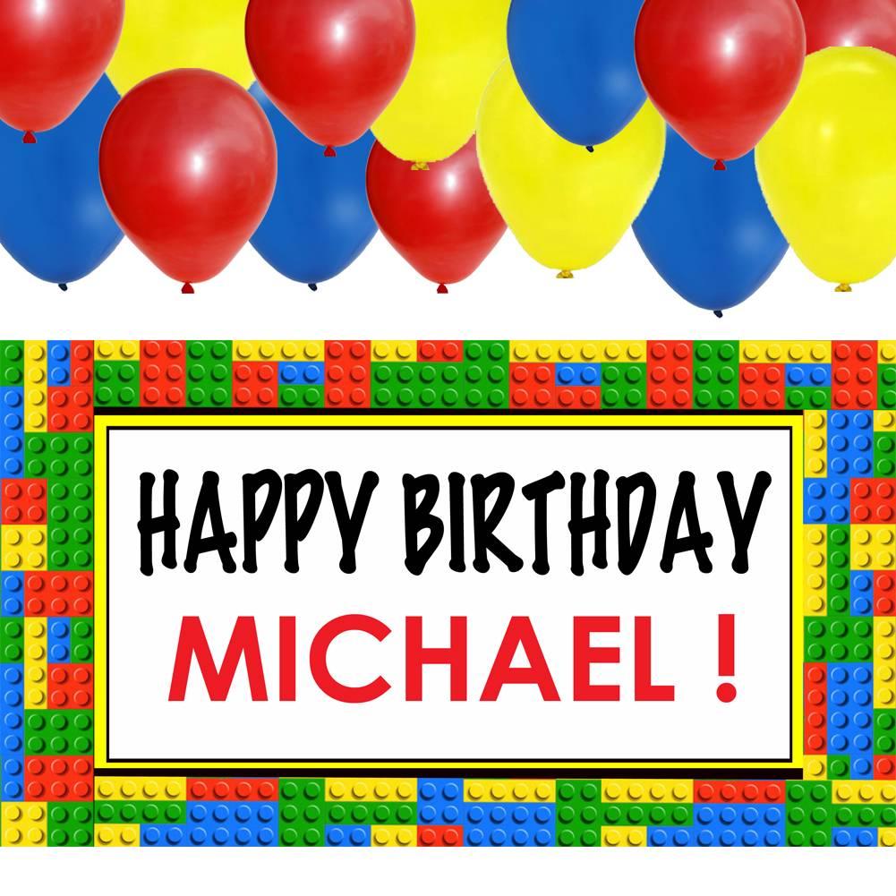 Brick Birthday Personalized Banner &24 Balloon Kit- Lego