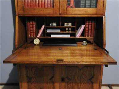 antique jacobean tudor secretaire bureau drop front desk bookcase cabinet 1920s ebay. Black Bedroom Furniture Sets. Home Design Ideas