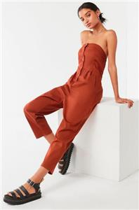 6bc981bc7c3b NWOT URBAN OUTFITTERS UO STRAPLESS BUTTON-DOWN JUMPSUIT sz XS)