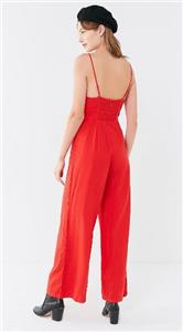 ce1d819b11bd (NWOT URBAN OUTFITTERS UO RED STRAIGHT-NECK BUTTON-DOWN JUMPSUIT sz 10)