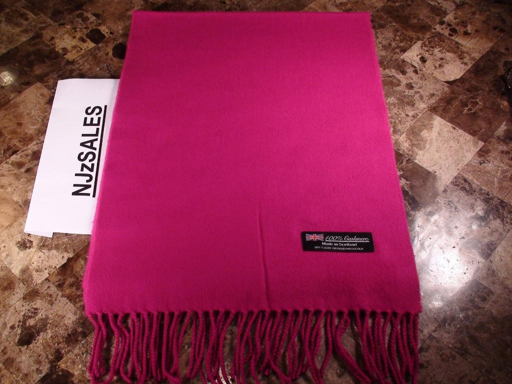 fe51b6ad7 100% CASHMERE Scarf PURE SOLID HOT PINK SCARF Made in Scotland Warm ...