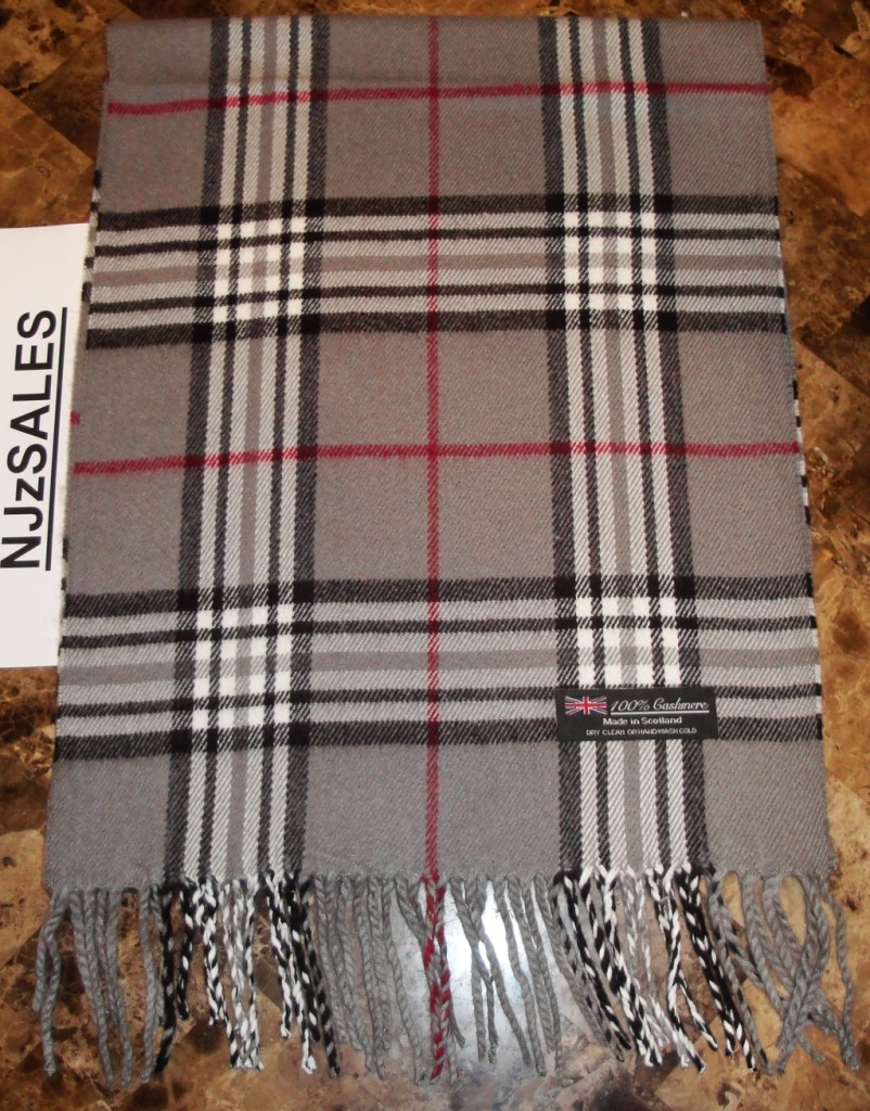 7d4c33dc4 100% CASHMERE Winter Scarf Gray Red Nova Check Plaid Made in ...