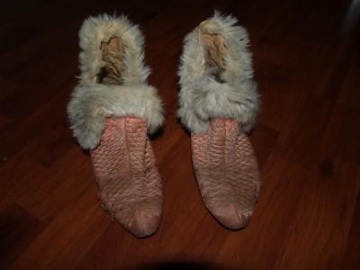 Vintage antique womens dress bedroom slippers fur pink 8 - Ladies bedroom slippers with heel ...