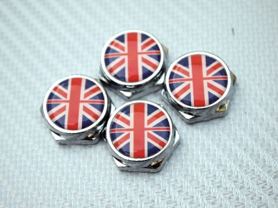 4 Union Jack Uk Logo License Plate Frame Holder Bolts
