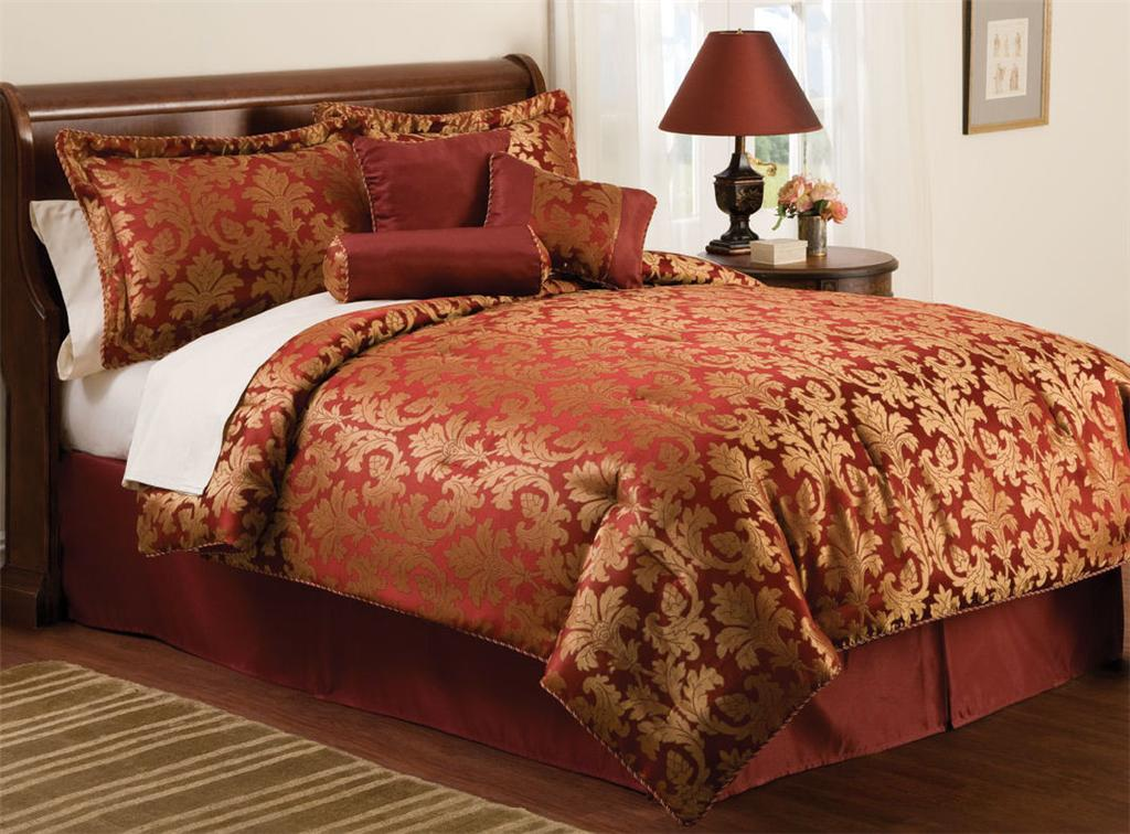 Red Gold Jacquard Queen Size Comforter Bedding Bed Set