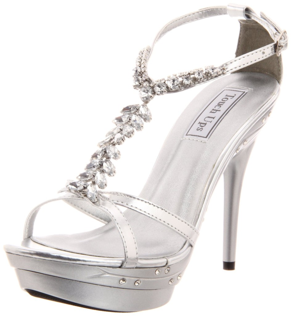 Womens Bridal Evening Prom Silver 5 Inch Platform High
