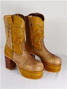 """Vtg 1970s Mens 4"""" Color Blocked Stacked Platform Boots ..."""