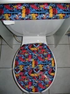 Superman Super Hero Dc Comic Fabric Toilet Seat Cover Set