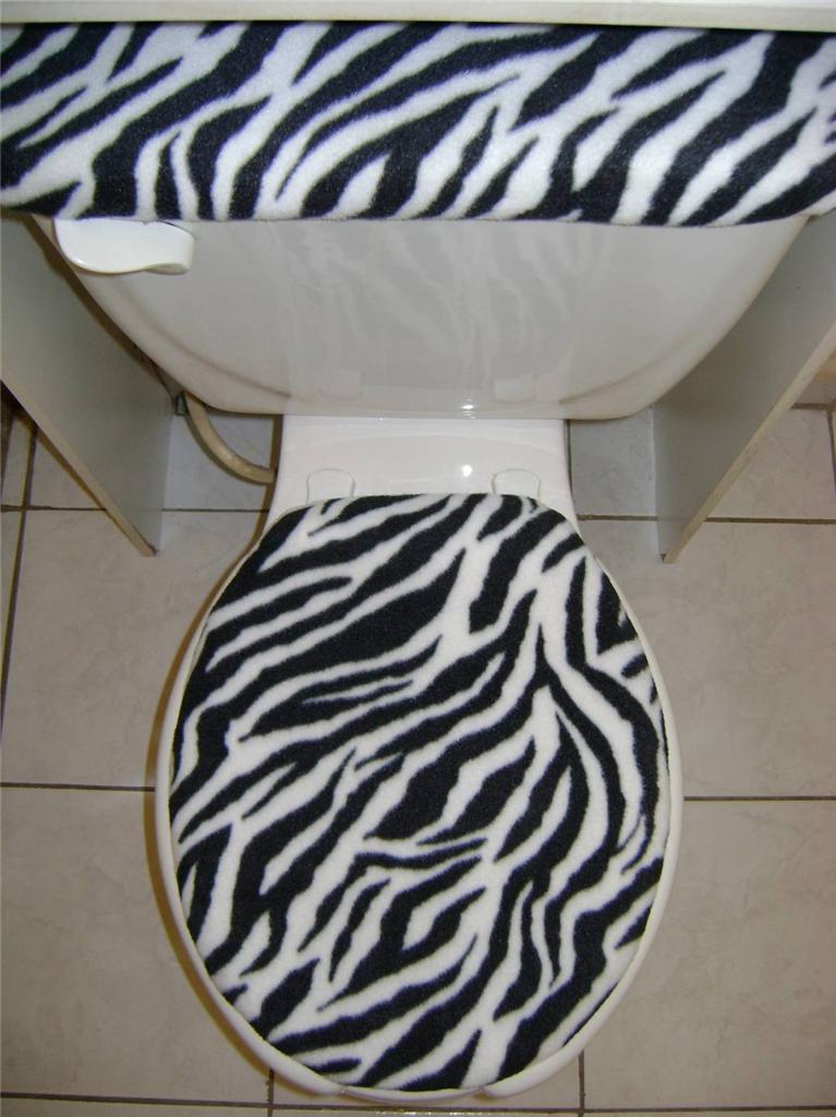 Black Amp White Zebra Fleece Fabric Toilet Seat Lid Amp Tank
