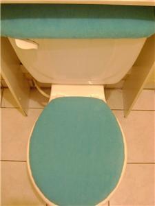 Light Turquoise Fleece Fabric Elongated Toilet Seat Lid