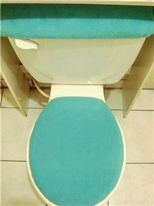 Turquoise Fleece Fabric Elongated Toilet Seat Lid Amp Tank