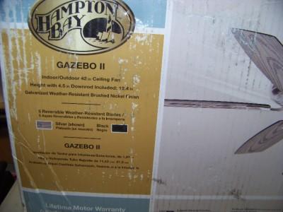 Hampton Bay Gazebo II 42 in Indoor Outdoor Brushed Nickel Ceiling Fan