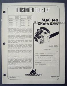 Mcculloch Chainsaw Mac 140 manual