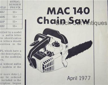 Mcculloch Chainsaw Mac 140 manual