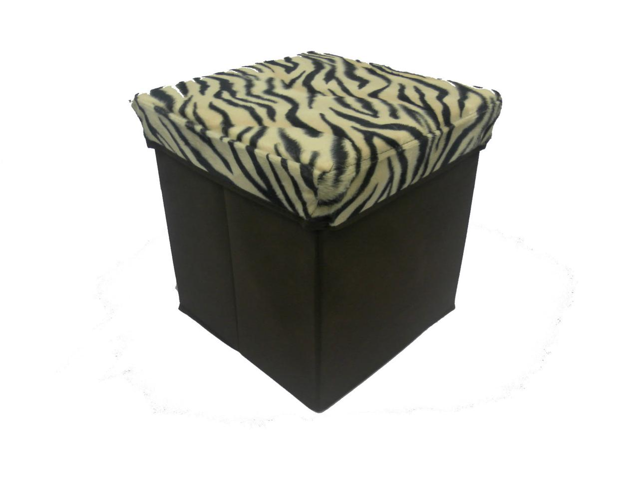 SMALL SQUARE FOLDING STORAGE OTTOMAN FOOT STOOL