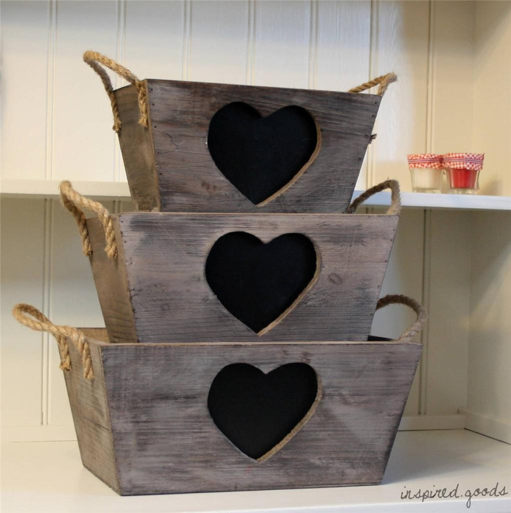 New French Vintage Wooden Heart Chalkboard Crate Basket