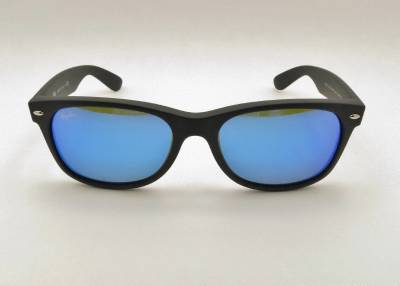 8a1c569468 Ray Ban New Wayfarer 2132 622 17 55 Matte Black Rubber Blue Mirror New  Authentic