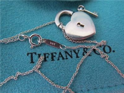 Tiffany Co Heart Padlock Key Necklace Pendant Ebay