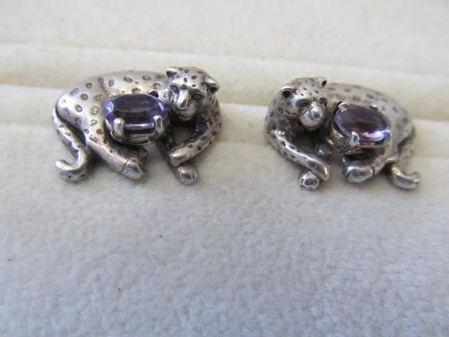 925 Sterling Silver Southwest Designer Carol Felley Malachite Leopard  Cheetah Post Earrings pierced ears only