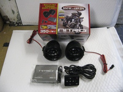nitro 2ch motorcycle audio amp w 2 speakers amp remote. Black Bedroom Furniture Sets. Home Design Ideas
