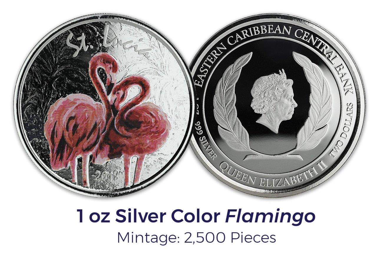 Lucia Silver Pink Flamingo BU 2018 1 oz St In Capsule