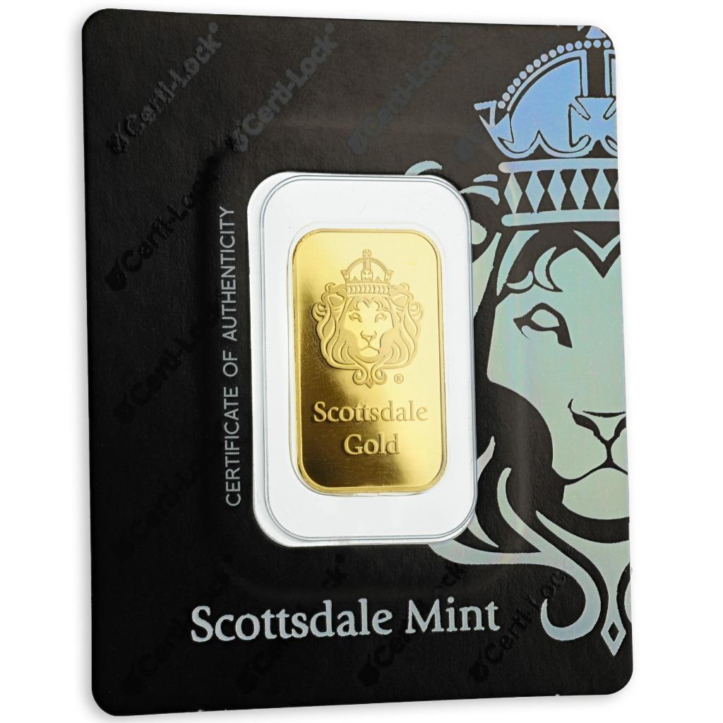 Sealed in Certi-LOCK COA by Scottsdale Mint #A376 10 gram .9999 Gold Bar