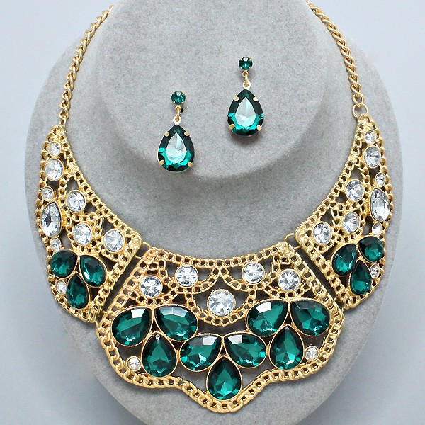 Currently Working On This Made To Order Blue Green Gold: Emerald Green Clear Rhinestone Gold Cut