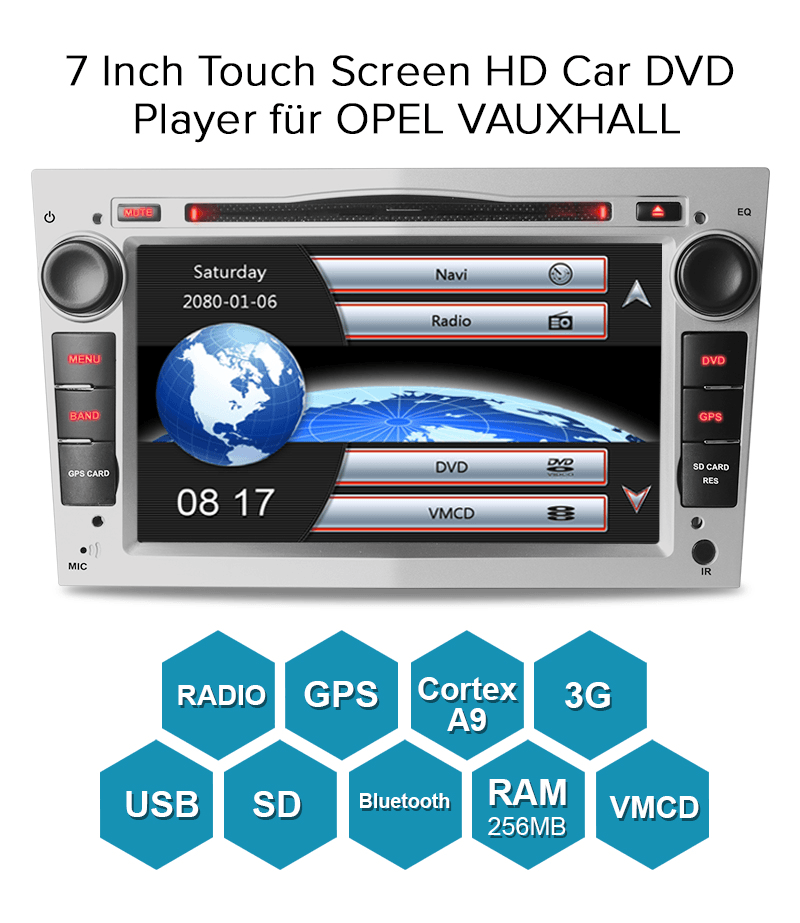 ab 2002 7 dvd gps navi autoradio rds f r opel zafira b. Black Bedroom Furniture Sets. Home Design Ideas