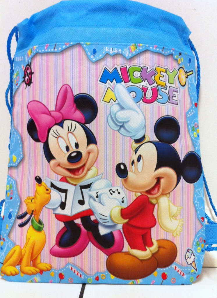 """New 14"""" Disney Mickey Minnie Mouse Children's Draw String Bag Backpack Free SH"""