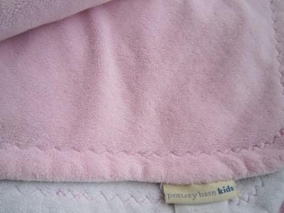 Pottery Barn Kids Baby Chamois Stroller Blanket Girl Soft Pink White Plush Bed