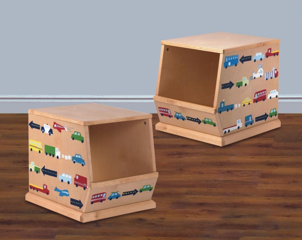 Kids Wood Stackable Storage Toy Bin Cars Trucks Planes