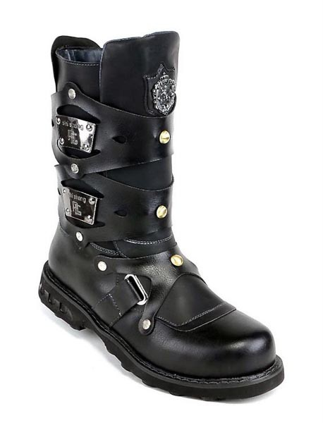 Cool Gothic Punk Man Leather Mens Boots Military