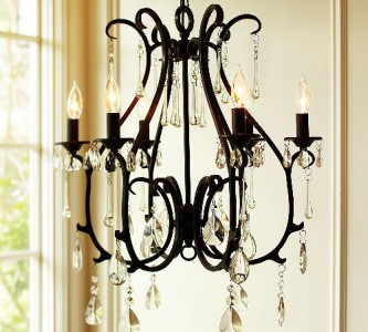 Pottery Barn Celeste Crystal Chandelier 6 Arm Black Finish