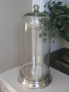 Pottery Barn Glass Cloche Necklace Jewelry Storage New