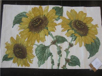 Pottery Barn Sunflower Embroidered Lumbar Pillow Cover New