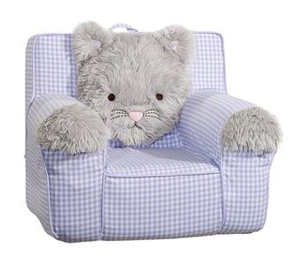 pottery barn kids anywhere chair slipcover new lavender check shaggy cat kitty. Black Bedroom Furniture Sets. Home Design Ideas