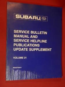 2000 Subaru Service Bulletin Manual & Service Helpline Update